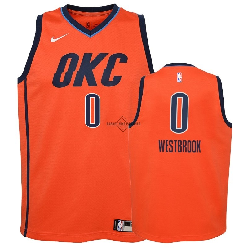 Maillot NBA Pas Cher - Maillot NBA Enfant Earned Edition Oklahoma City Thunder NO.0 Russell Westbrook Orange 2018-19
