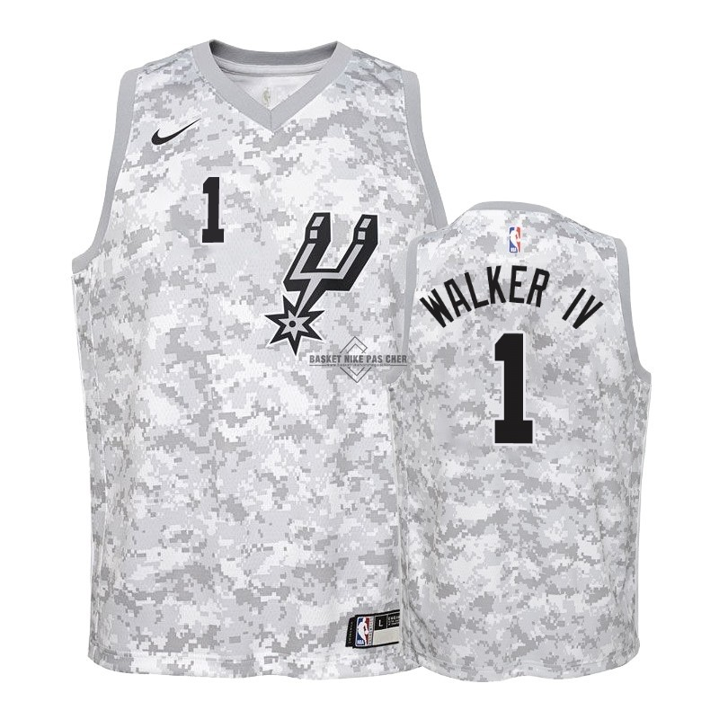 Maillot NBA Pas Cher - Maillot NBA Enfant Earned Edition San Antonio Spurs NO.1 Lonnie Walker Gris 2018-19