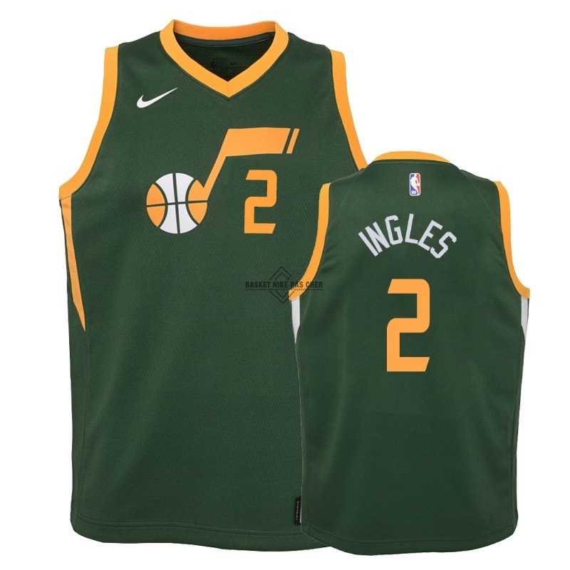 Maillot NBA Pas Cher - Maillot NBA Enfant Earned Edition Utah Jazz NO.2 Joe Ingles Vert 2018-19