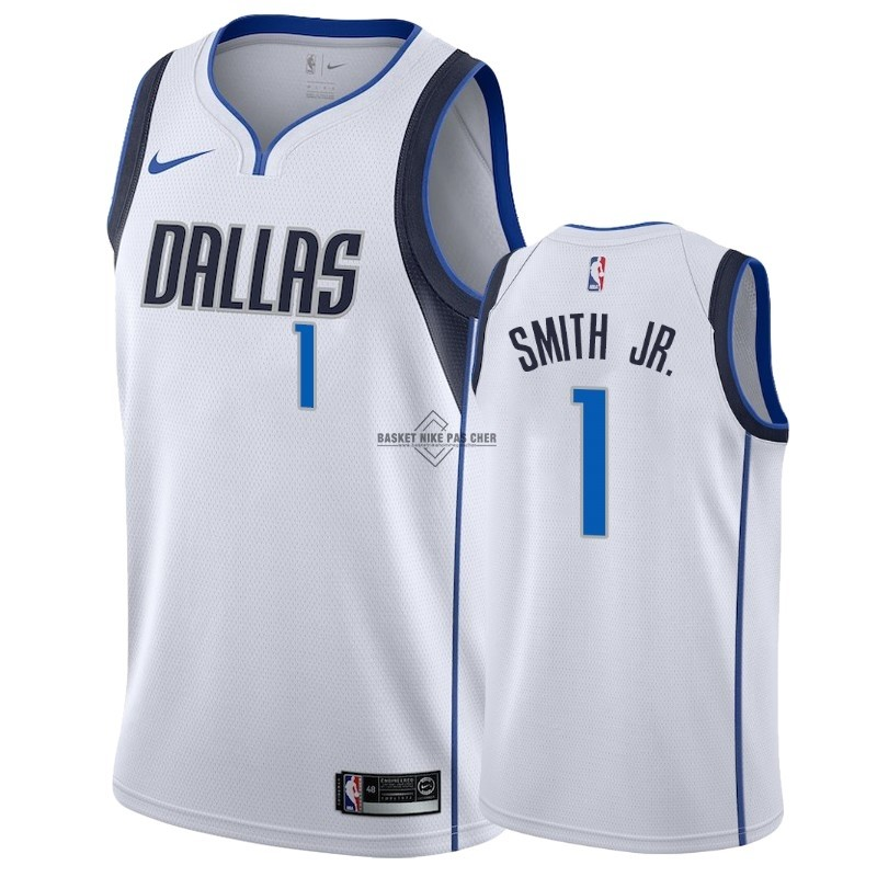 Maillot NBA Pas Cher - Maillot NBA Nike Dallas Mavericks NO.1 Dennis Smith Jr Blanc Association 2018-19