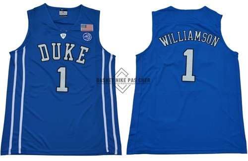 Maillot NBA Pas Cher - Maillot NCAA Duke NO.1 Zion Williamson Bleu