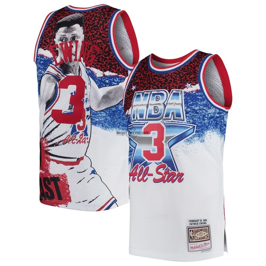 Maillot NBA Pas Cher - Maillot NBA All Star 1991 NO.3 Patrick Ewing Blanc