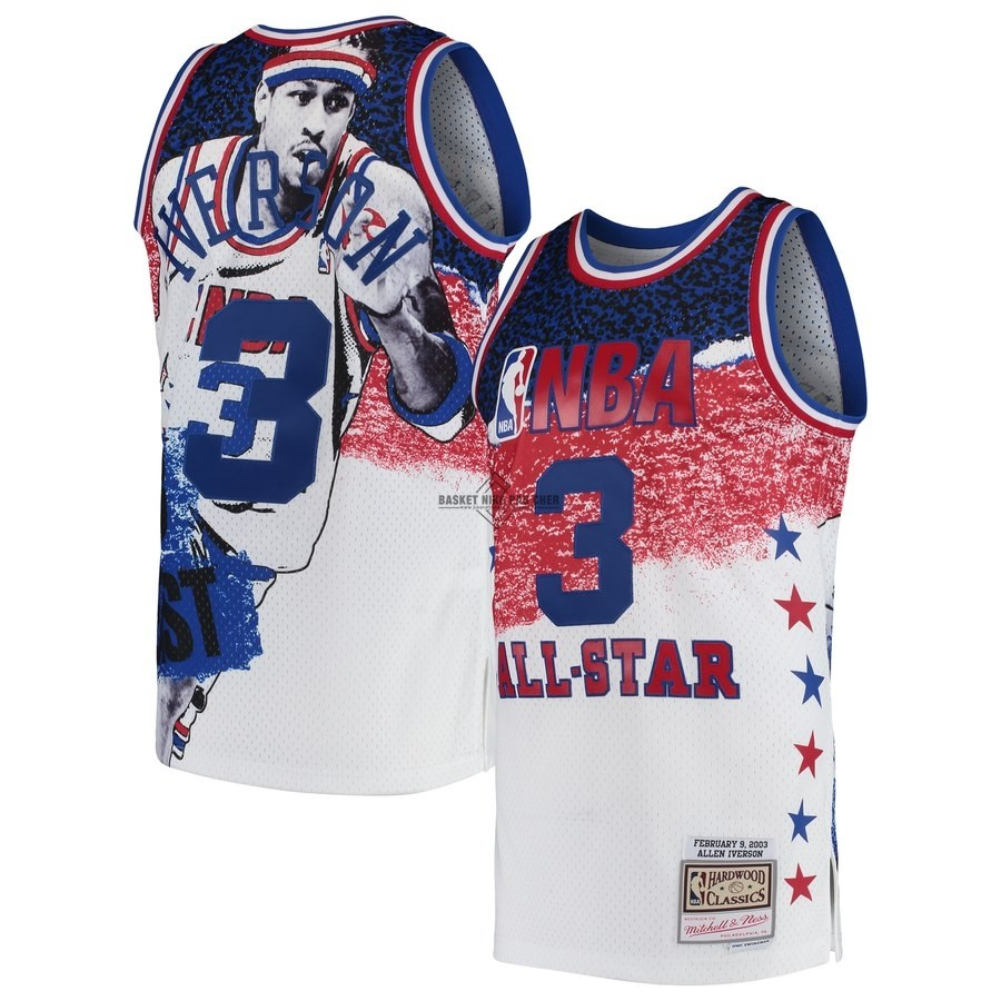 Maillot NBA Pas Cher - Maillot NBA All Star 2003 NO.3 Allen Iverson Blanc