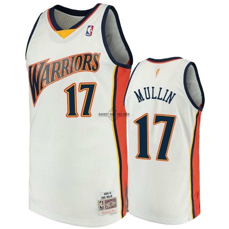 Maillot NBA Pas Cher - Maillot NBA Golden State Warriors NO.17 Chris Mullin Blanc Hardwood Classics
