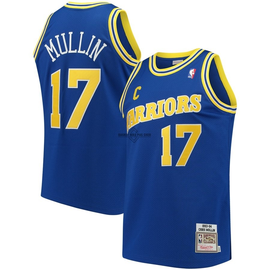 Maillot NBA Pas Cher - Maillot NBA Golden State Warriors NO.17 Chris Mullin Bleu Hardwood Classics 1993-94