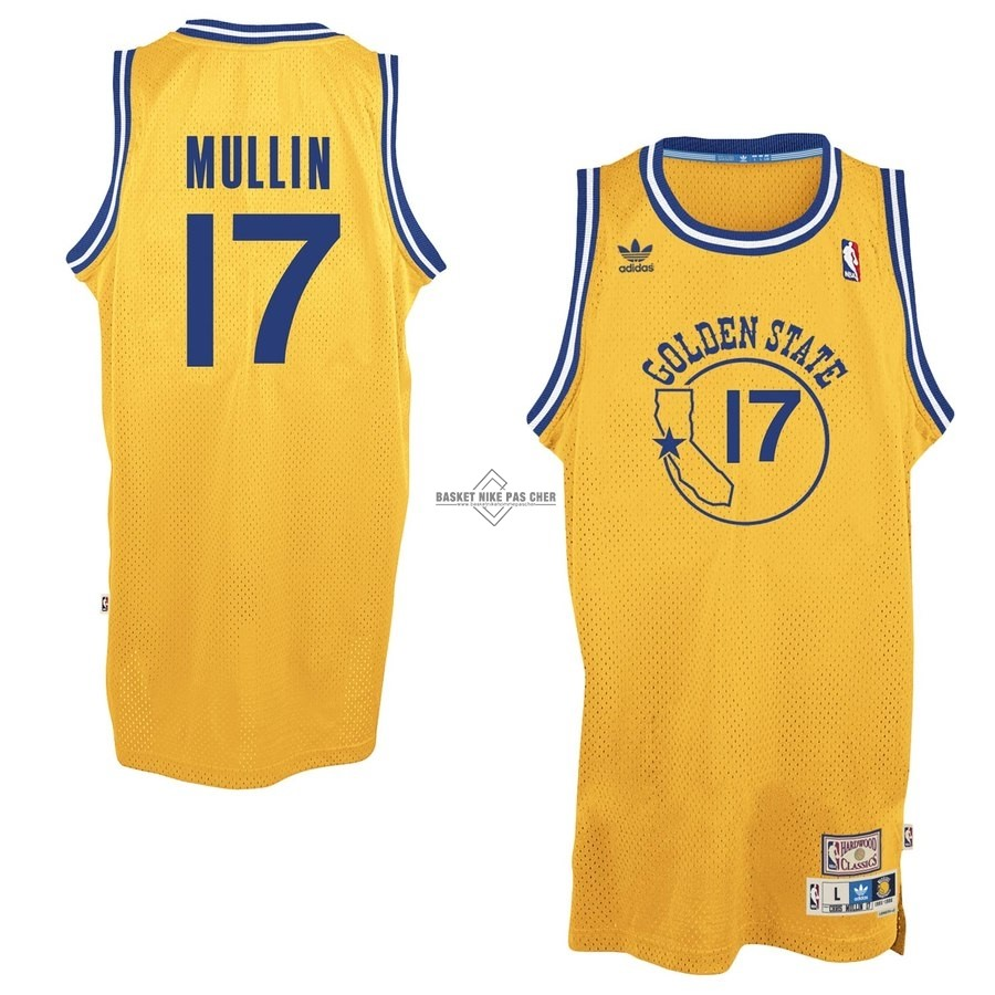 Maillot NBA Pas Cher - Maillot NBA Golden State Warriors NO.17 Chris Mullin Jaune Hardwood Classics