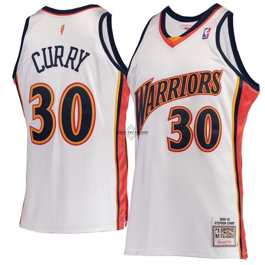 Maillot NBA Pas Cher - Maillot NBA Golden State Warriors NO.30 Stephen Curry Blanc Hardwood Classics 2009-10