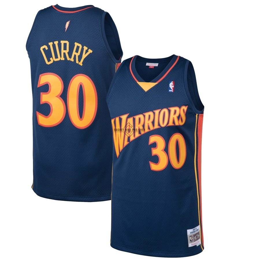 Maillot NBA Pas Cher - Maillot NBA Golden State Warriors NO.30 Stephen Curry Noir Hardwood Classics 2009-10