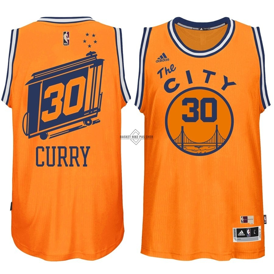 Maillot NBA Pas Cher - Maillot NBA Golden State Warriors NO.30 Stephen Curry Orange Hardwood Classics
