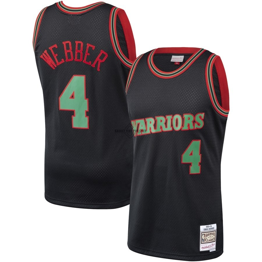 Maillot NBA Pas Cher - Maillot NBA Golden State Warriors NO.4 Chris Webber Noir Hardwood Classics