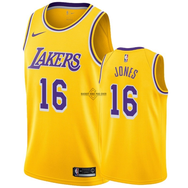 Maillot NBA Pas Cher - Maillot NBA Nike Los Angeles Lakers NO.16 Jemerrio Jones Jaune Icon 2018-19