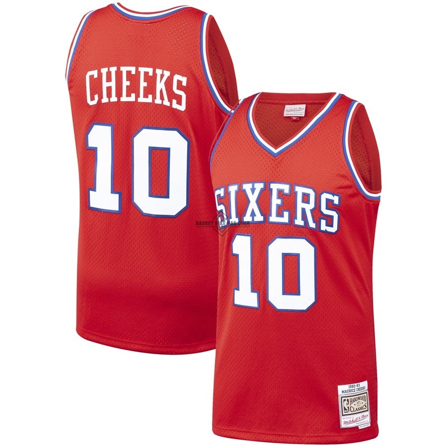 Maillot NBA Pas Cher - Maillot NBA Philadelphia Sixers NO.10 Maurice Cheeks Rouge Hardwood Classics 1982-83