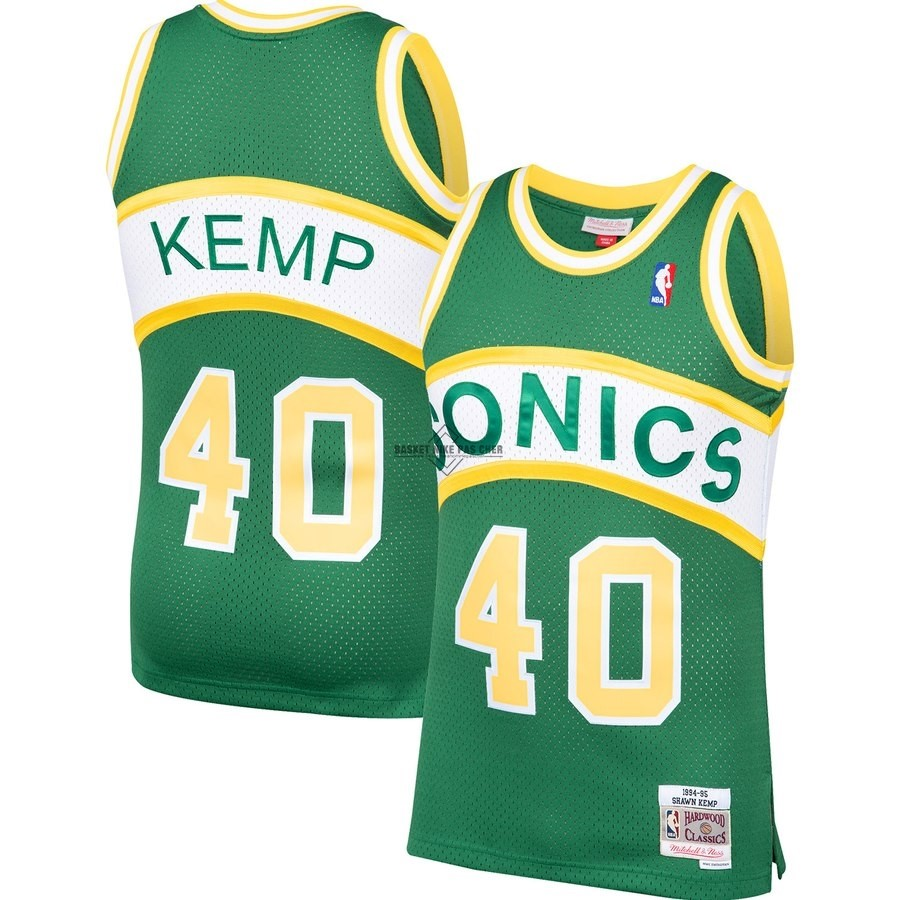 Maillot NBA Pas Cher - Maillot NBA Seattle SuperSonics NO.40 Shawn Kemp Vert Hardwood Classic 1994-95