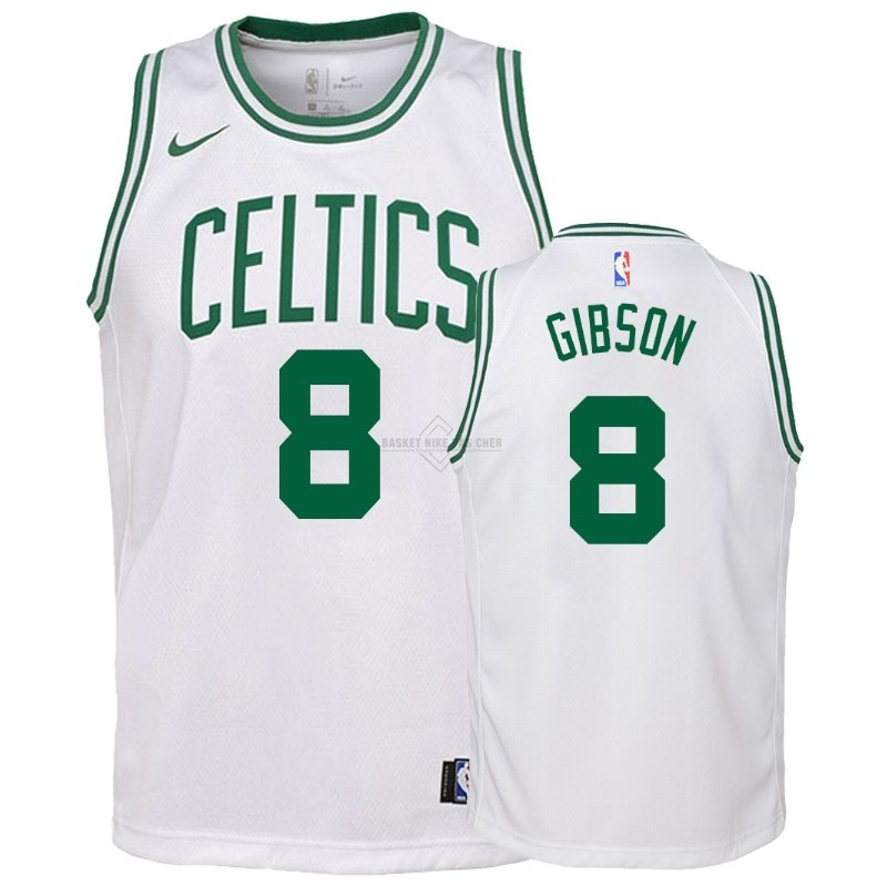 Maillot NBA Pas Cher - Maillot NBA Enfant Boston Celtics NO.8 Jonathan Gibson Blanc Association 2018-19