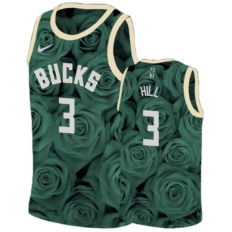 Maillot NBA Pas Cher - Maillot NBA Nike Milwaukee Bucks NO.3 George Hill Vert