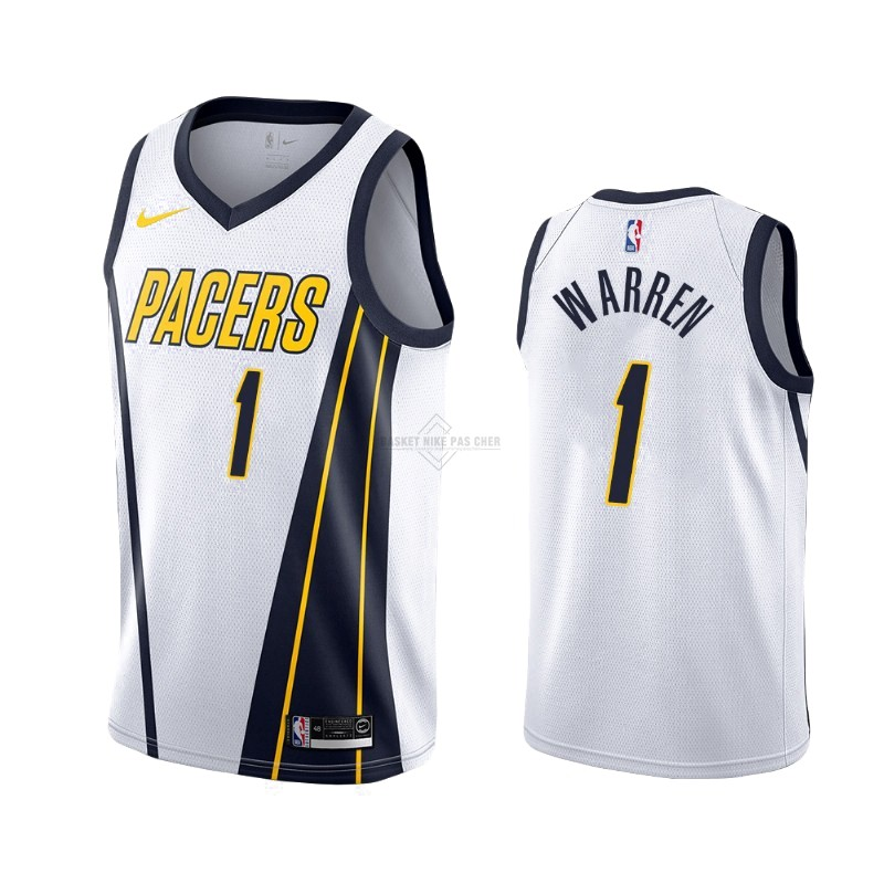 Maillot NBA Pas Cher - Maillot Earned Edition Indiana Pacers NO.26 T.J. Warren Gray Blanc 2019-20