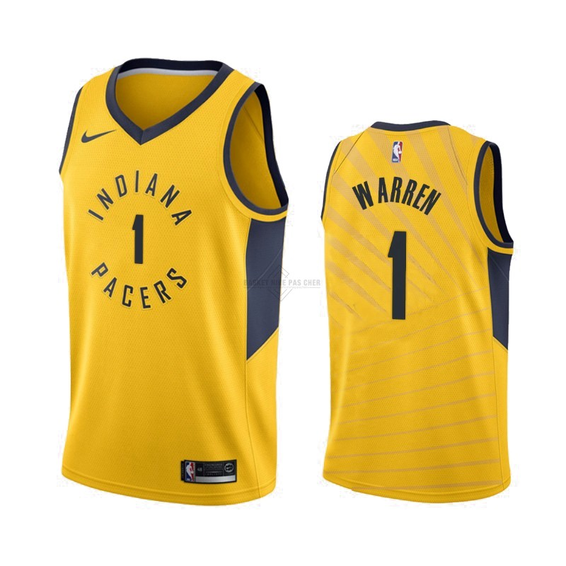 Maillot NBA Pas Cher - Maillot NBA Nike Indiana Pacers NO.1 T.J. Warren Gray Jaune Statement 2019-20