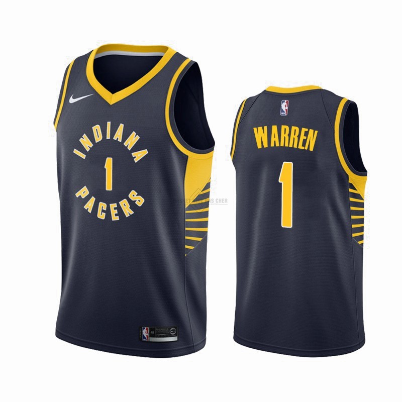 Maillot NBA Pas Cher - Maillot NBA Nike Indiana Pacers NO.1 T.J. Warren Gray Marine Icon 2019-20