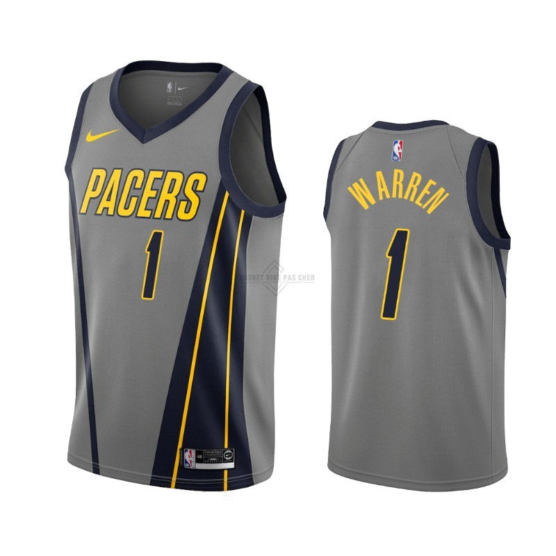 Maillot NBA Pas Cher - Maillot NBA Nike Indiana Pacers NO.1 T.J. Warren Gray Nike Gris Ville 2019-20