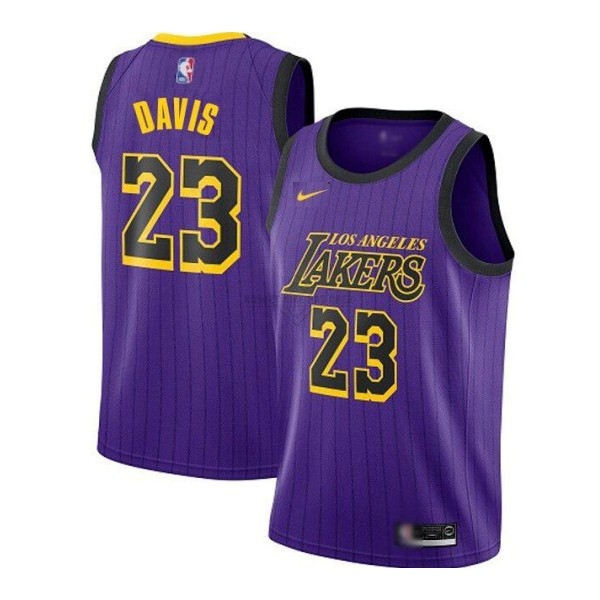Maillot NBA Pas Cher - Maillot NBA Nike Los Angeles Lakers NO.23 Anthony Davis Purpura Ville 2019-20