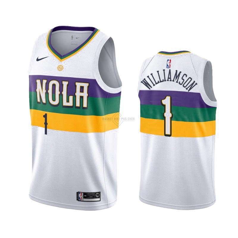 Maillot NBA Pas Cher - Maillot NBA Nike New Orleans Pelicans NO.1 Zion Williamson Nike Blanc Ville 2019-20