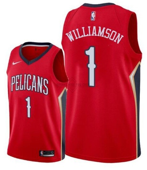 Maillot NBA Pas Cher - Maillot NBA Nike New Orleans Pelicans NO.1 Zion Williamson Rouge 2019-20
