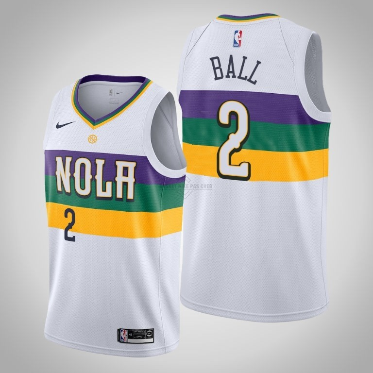 Maillot NBA Pas Cher - Maillot NBA Nike New Orleans Pelicans NO.2 Lonzo Ball Blanc Ville 2019-20