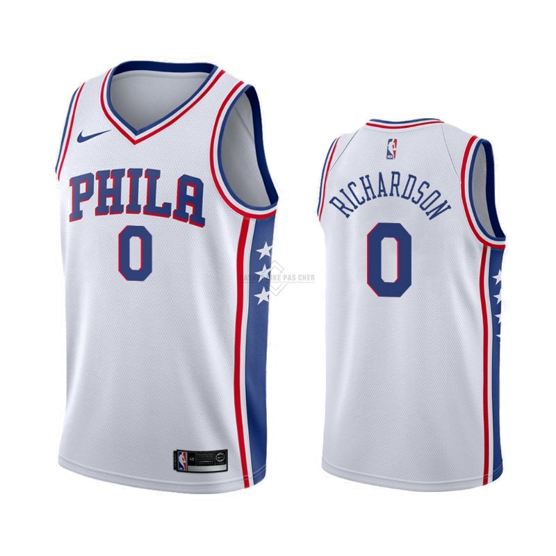 Maillot NBA Pas Cher - Maillot NBA Nike Philadelphia Sixers NO.0 Josh Richardson Blanc Association 2019-20