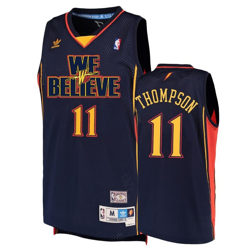 Maillot NBA Golden State Warriors NO.11 Kley Thompson Marine Hardwood Classics