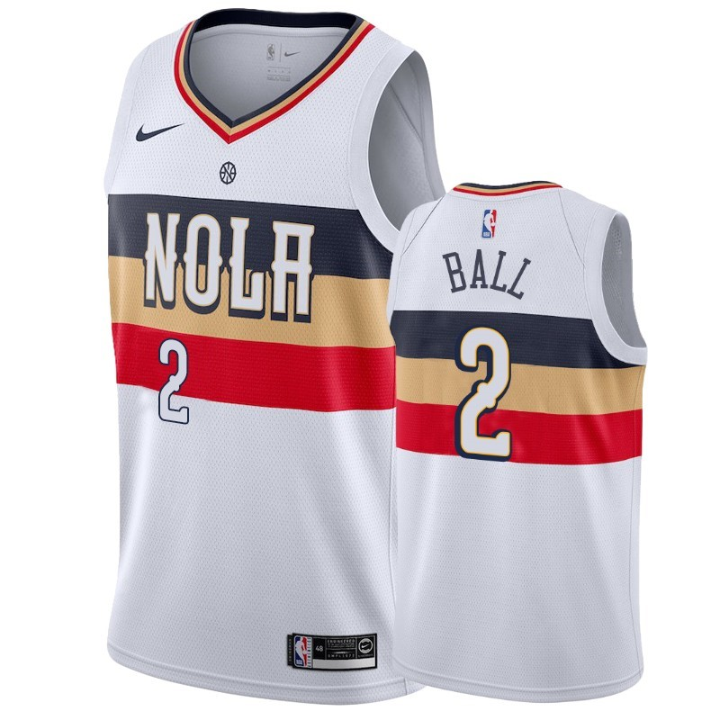 Maillot NBA Nike New Orleans Pelicans NO.2 Lonzo Ball Blanc Earned 2019-20