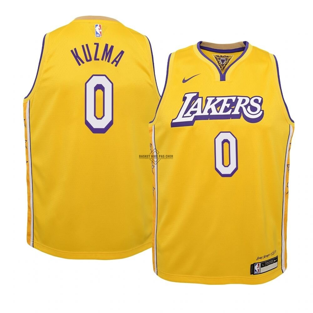 Maillot NBA Pas Cher - Maillot NBA Enfant Los Angeles Lakers NO.0 Kyle Kuzma Nike Jaune Ville 2019-20