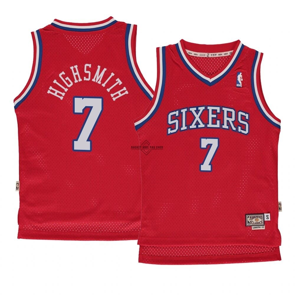 Maillot NBA Pas Cher - Maillot NBA Enfant Philadelphia Sixers NO.7 Haywood Highsmith Rouge Hardwood Classics 1982-83