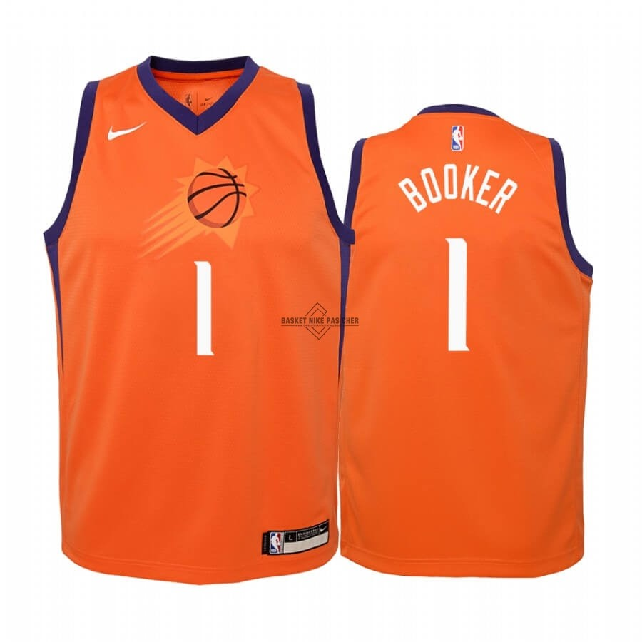 Maillot NBA Pas Cher - Maillot NBA Enfant Phoenix Suns NO.1# Devin Booker Orange Statement 2019-20