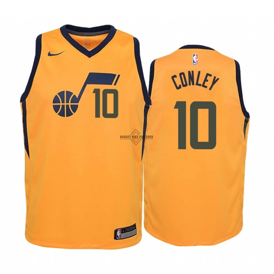 Maillot NBA Pas Cher - Maillot NBA Enfant Utah Jazz NO.10 Mike Conley Jaune Statement 2019-20