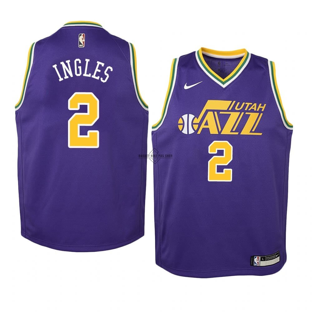 Maillot NBA Pas Cher - Maillot NBA Enfant Utah Jazz NO.2 Joe Ingles Pourpre Hardwood Classics