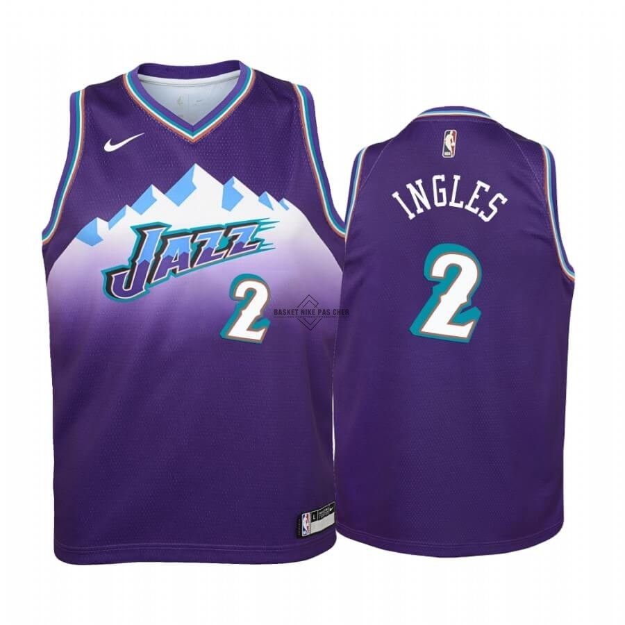 Maillot NBA Pas Cher - Maillot NBA Enfant Utah Jazz NO.2 Joe Ingles Pourprel Hardwood Classics 2019-20