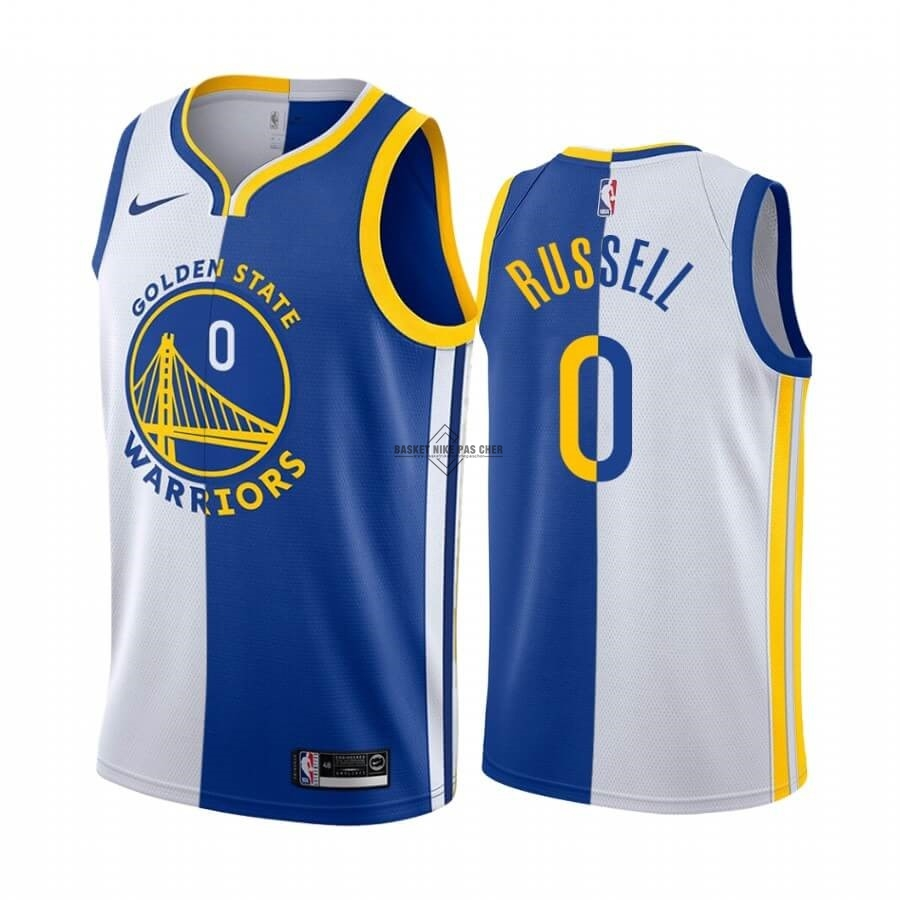 Maillot NBA Pas Cher - Maillot NBA Nike Golden State Warriors NO.0 D'Angelo Russell Bleu Blanc Split Edition 2019-20