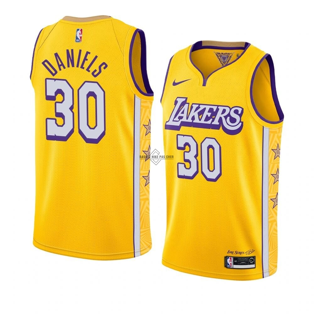 Maillot NBA Pas Cher - Maillot NBA Nike Los Angeles Lakers NO.30 Troy Daniels Nike Jaune Ville 2019-20