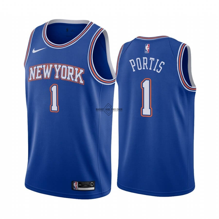 Maillot NBA Pas Cher - Maillot NBA Nike New York Knicks NO.1 Bobby Portis Bleu Statement 2019-20