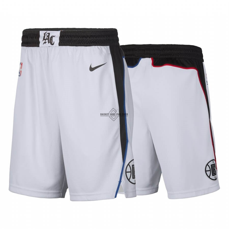 Maillot NBA Pas Cher - Short Basket Los Angeles Clippers Nike Blanc Ville 2019-20