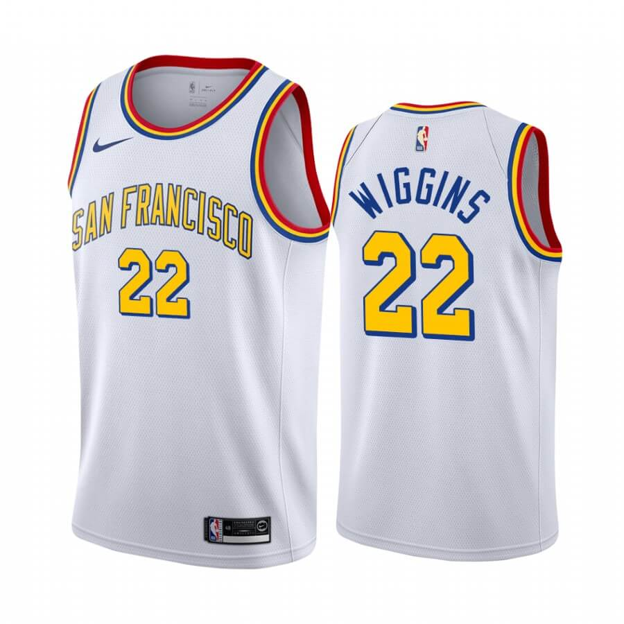 Maillot NBA Nike Golden State Warriors NO.22 Andrew Wiggins Blanc Classics Edition 19 20
