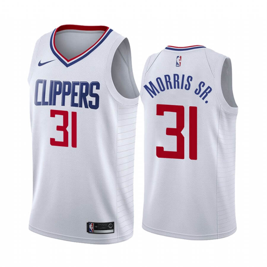 Maillot NBA Nike Los Angeles Clippers NO.31 Marcus Morris Sr. Blanc Association 2019-20