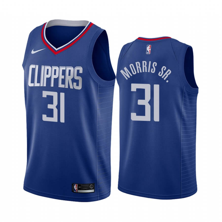 Maillot NBA Nike Los Angeles Clippers NO.31 Marcus Morris Sr. Bleu Icon 2019-20