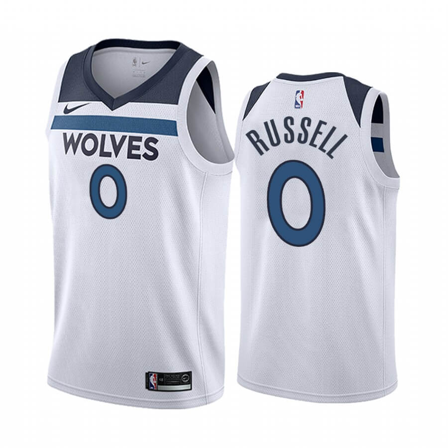 Maillot NBA Nike Minnesota Timberwolves NO.0 D'angelo Russell Blanc Association 2019-20