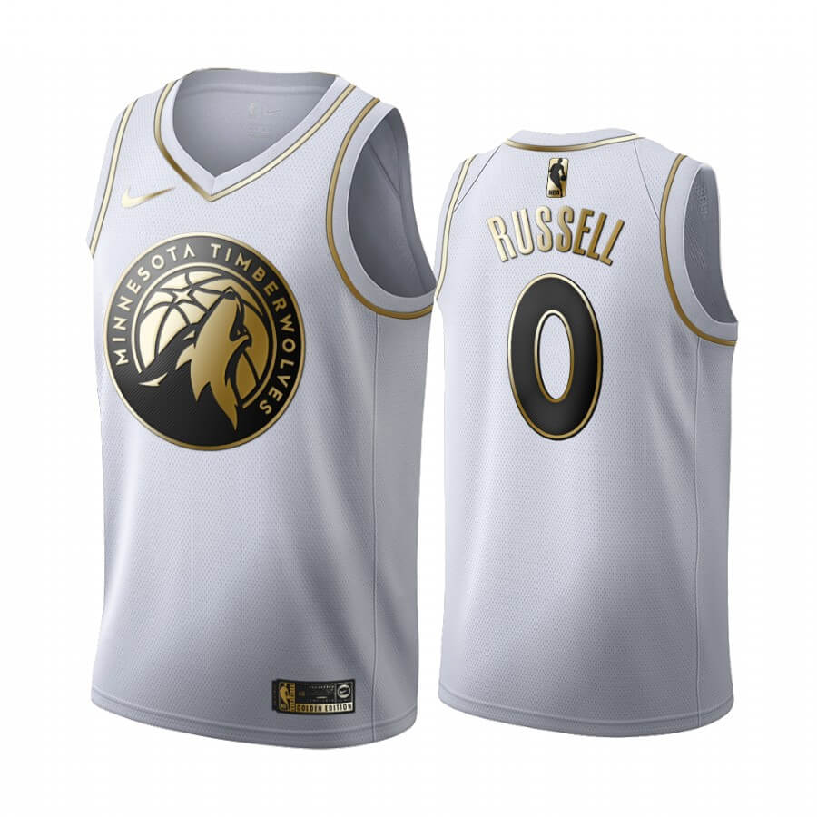 Maillot NBA Nike Minnesota Timberwolves NO.0 D'angelo Russell Blanc Or 2019-20
