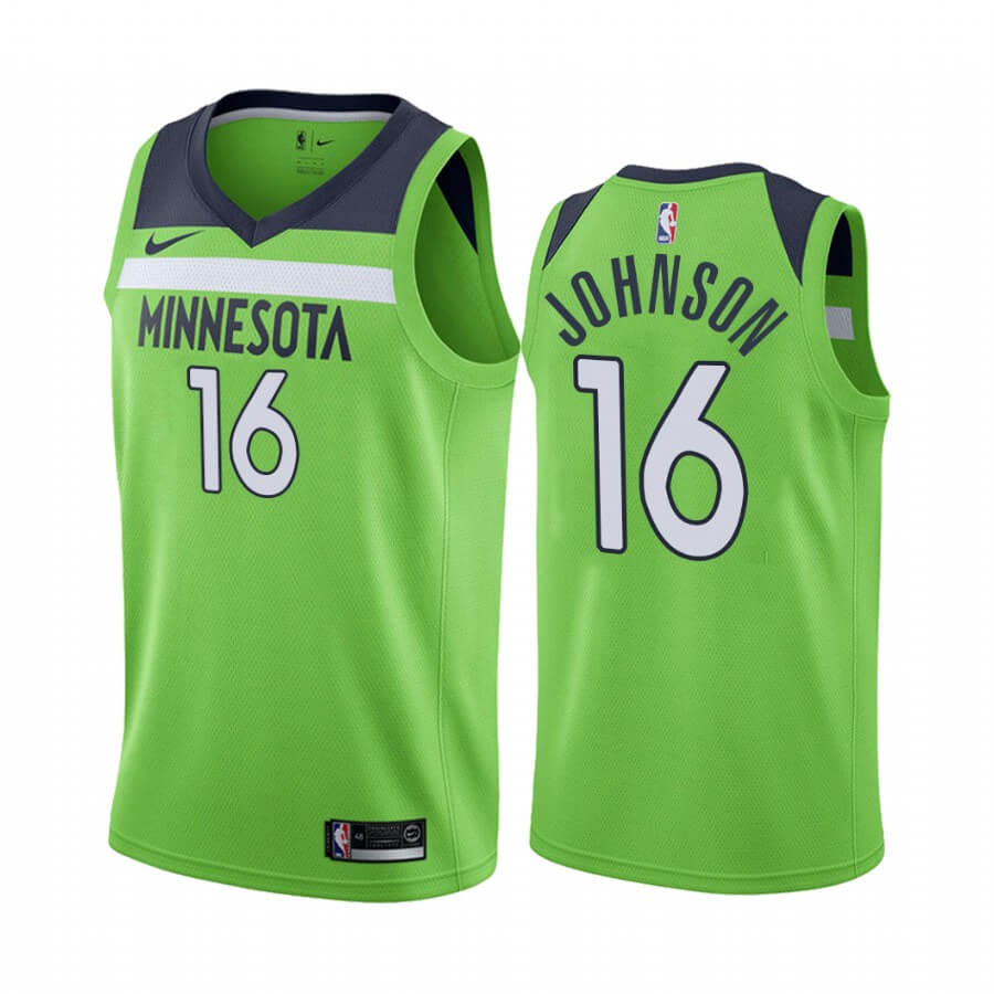 Maillot NBA Nike Minnesota Timberwolves NO.16 James Johnson Vert Statement 2019-20