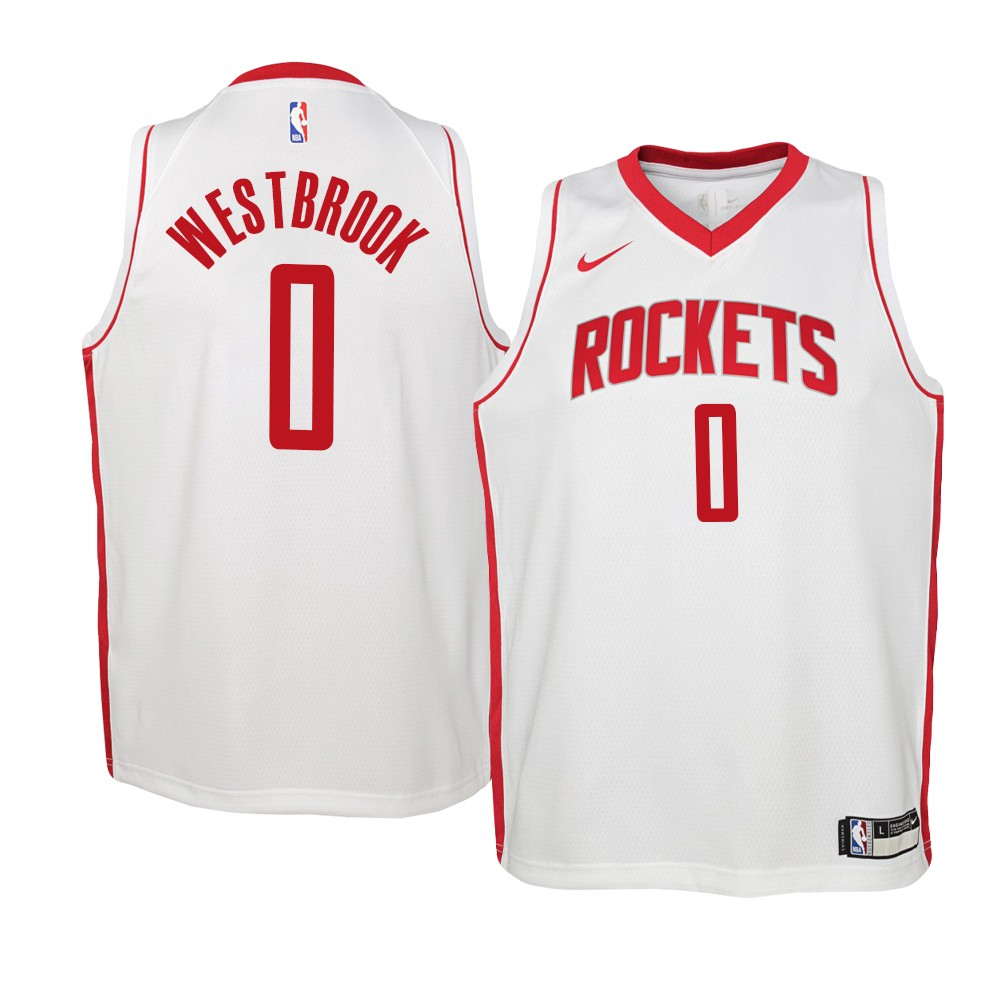 Maillot NBA Enfant Houston Rockets NO.0# Russell Westbrook Blanc Association 2019-20