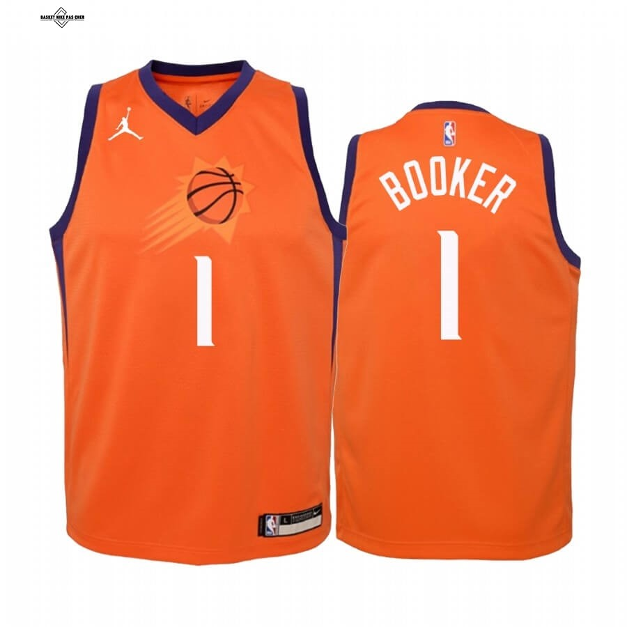 Maillot NBA Pas Cher - Maillot NBA Enfant Phoenix Suns NO.1 Devin Booker Orange Statement 2020