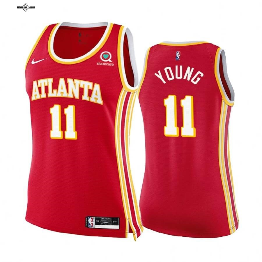 Maillot NBA Pas Cher - Maillot NBA Femme Boston Celtics NO.11 Trae Young Rouge Icon 2020-21