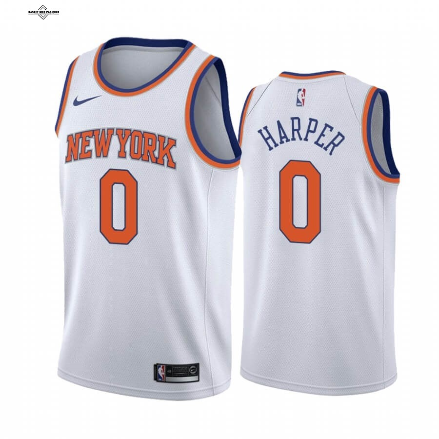 Maillot NBA Pas Cher - Maillot NBA Nike New York Knicks NO.0 Jared Harper Blanc Association 2020-21